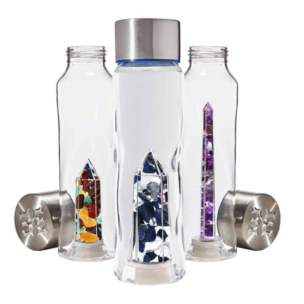 pretty water bottles with crystals to infuse water