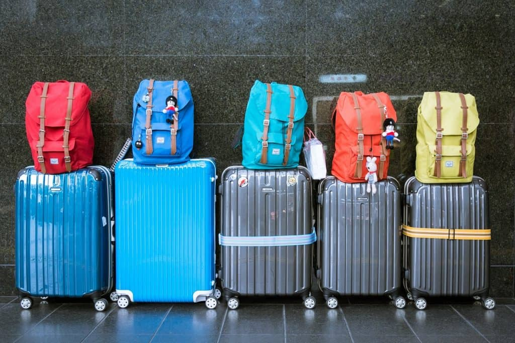 Suitcases packed ready for holiday