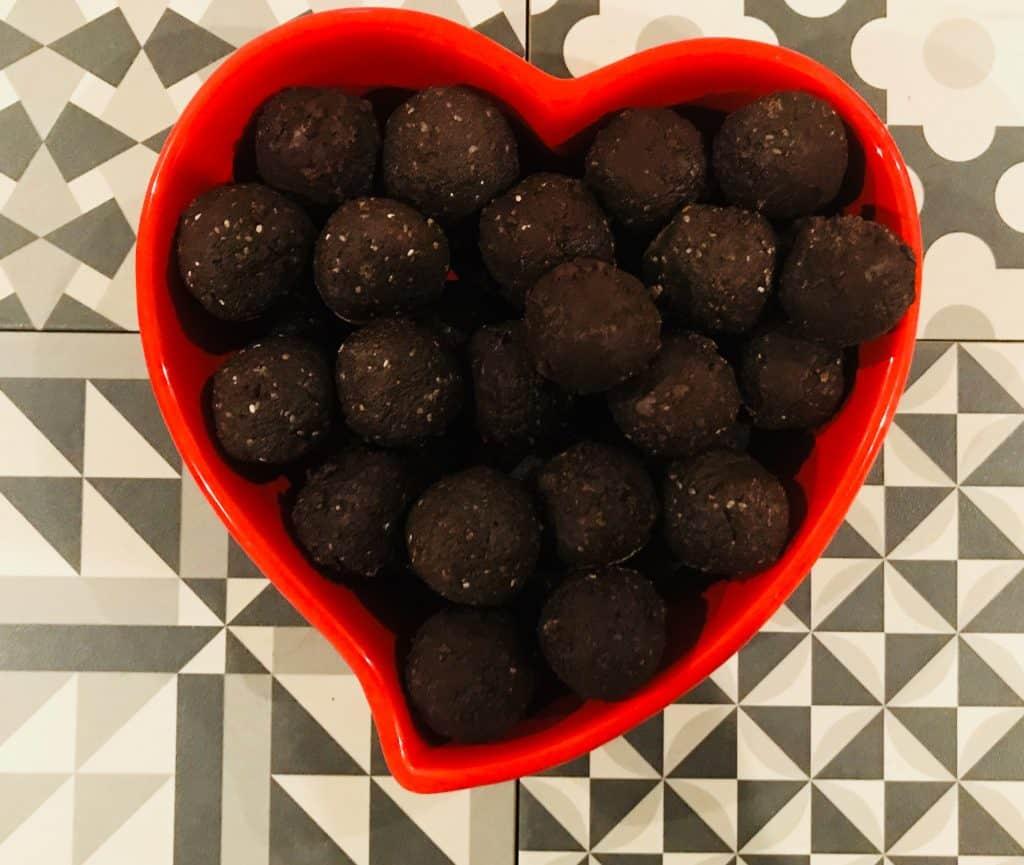maca energy balls in a bowl