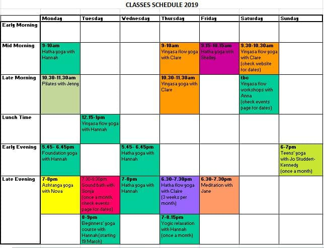 classes schedule