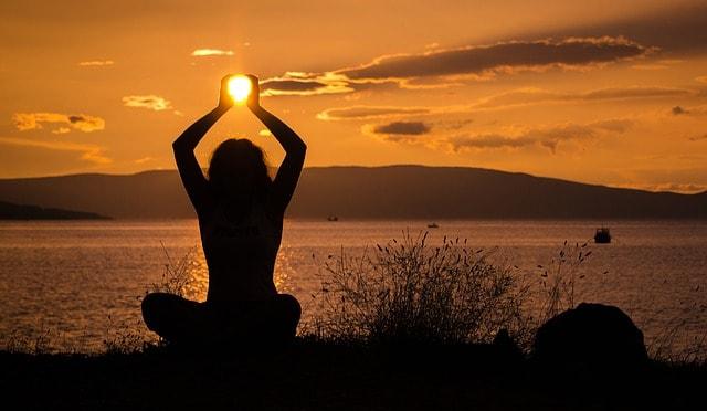yoga sunset woman