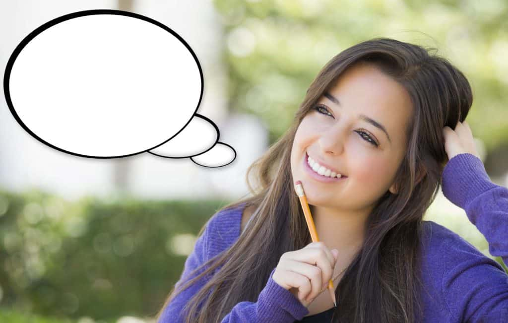 Woman with a thought bubble who is learning to reinvent herself through NLP