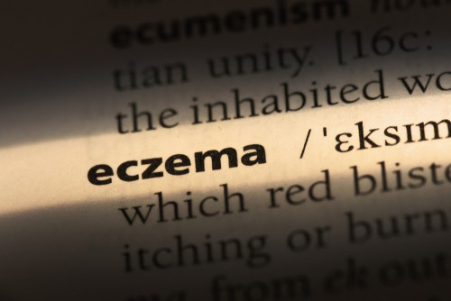 The word eczema highlighted in a dictionary