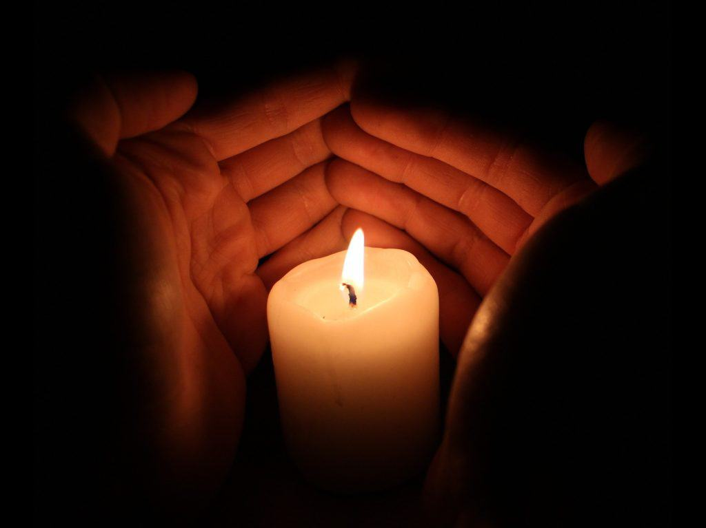 Candle light for yogic relaxation