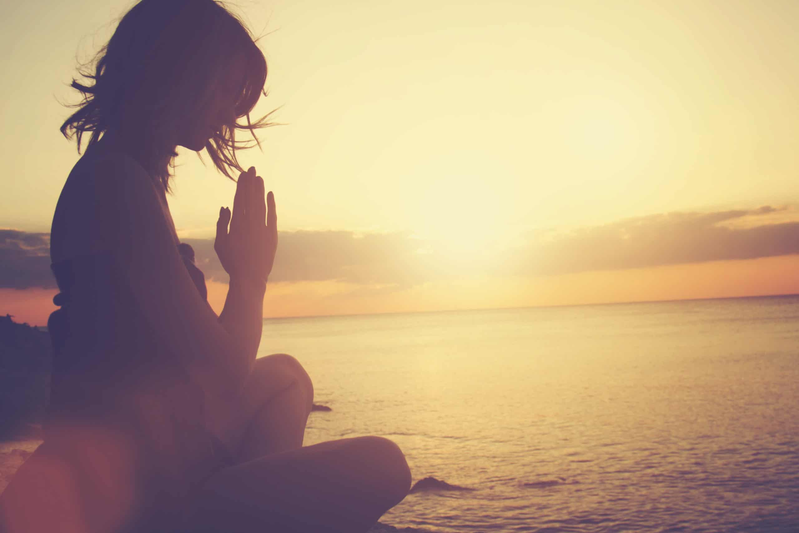 Child Meditate Sea